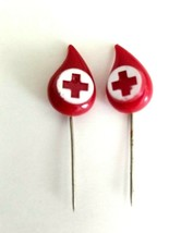 Lot of 2 VTG American Red Cross Red Plastic Blood Drop Blood Donor Stick... - $9.75