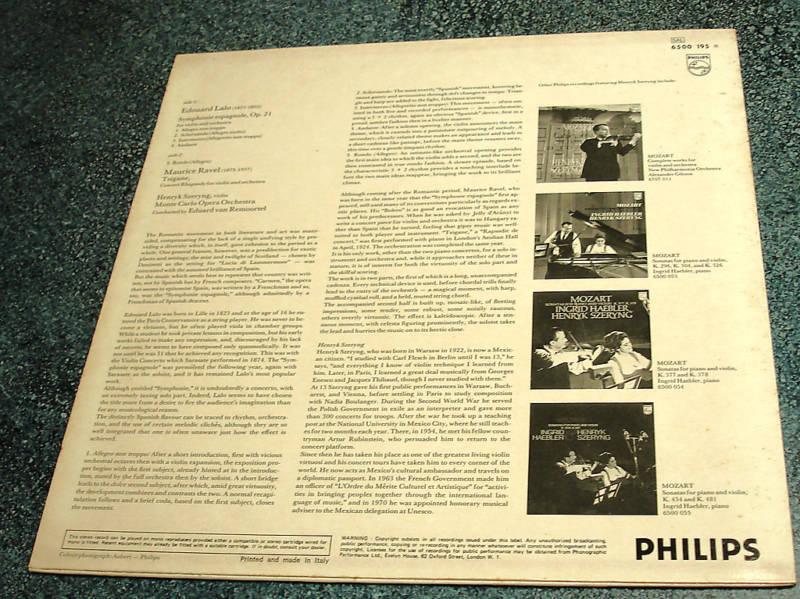 HENRYK SZERYNG Italy Philips LP LALO SYMPHONIE/RAVEL