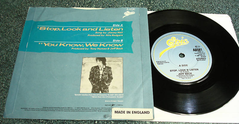 JEFF BECK 1985 UK PS 45 Stop Look Listen/You Know We