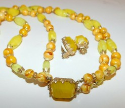 Vintage ALICE CAVINESS Necklace Earring Set Chartreuse Glass Beads 2 Strand - $48.25