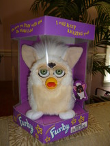Original 1999 FURBY Curly Lamb Furby Cream Beige Green Eyes NRFB NEW IN BOX - $59.99
