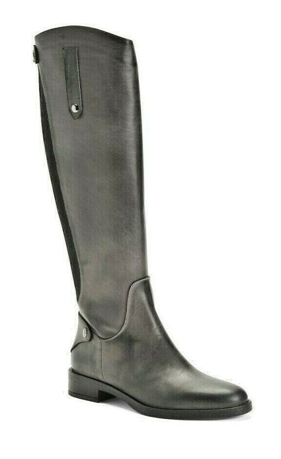 Primary image for EMANUELE CRASTO RIDING KNEE HIGH LEATHER BOOTS DARK GRAY Size US 7M / EURO 37