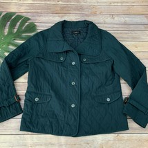 Talbots Quilted Jacket Size M Forest Green Button Up Water Resistant Field - $26.13