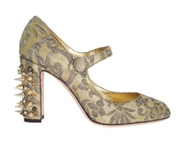 Dolce & Gabbana Women Gold Studs Crystal Embroidery Pumps EU39/US8.5 - $247.67