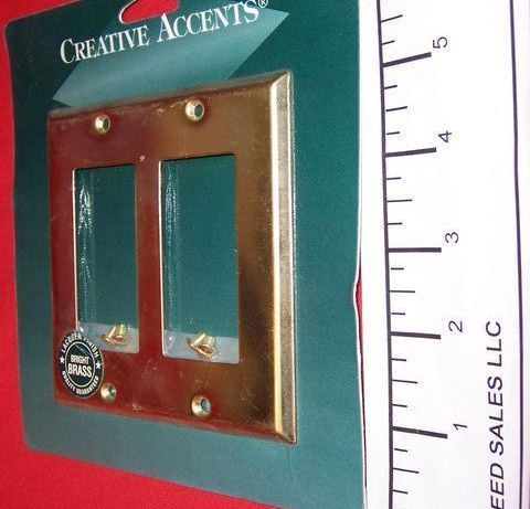 2 Gang Creative Accents Polished Brass Wall Plate 2 Rocker GFCI 9BS127