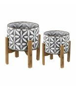 Metal Plant Stand w/ Wood Stand Set Of 2 - D44146 - £98.77 GBP