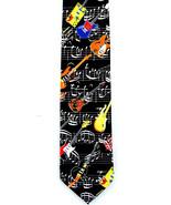 Guitar Music Mens Neck Tie Electric Score Musician Guitarist Gift Black ... - $15.79
