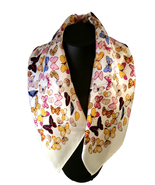 St. Germain 100% Mulberry Silk Scarf Butterfly Ivory Square 52cm FREE SC... - $29.00