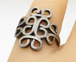 MEXICO 925 Silver - Vintage Open Swirl Designed Dark Tone Band Ring Sz 6... - $24.31