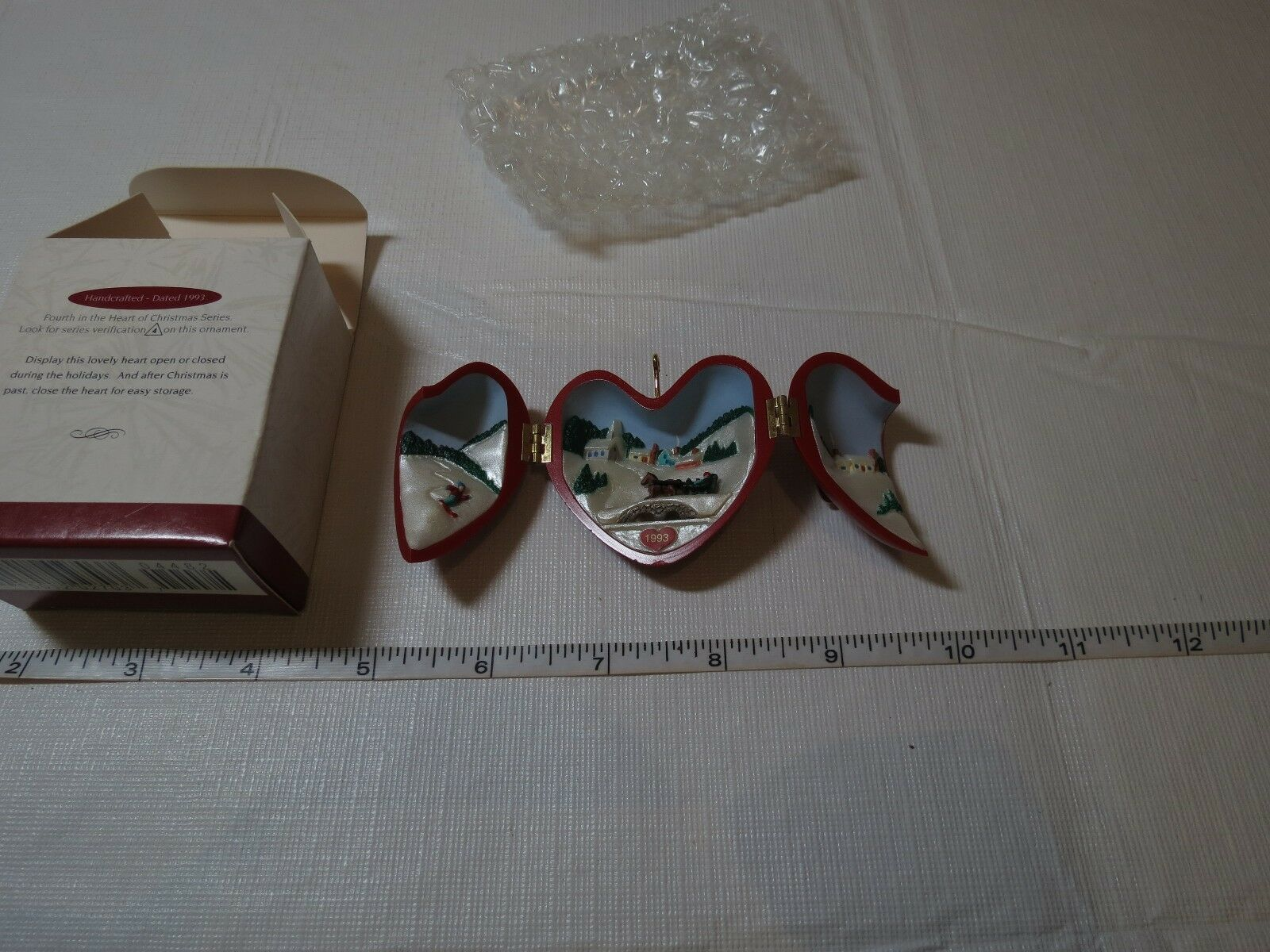 Red Heart of Hallmark Keepsake Ornament Christmas 1993 opens snow sled Church image 6