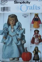 """Simplicity 8252 Fairy Tale 18"""" Doll Costumes ~ 18 inch Doll Sewing Patterns ~ Am - $34.79"""