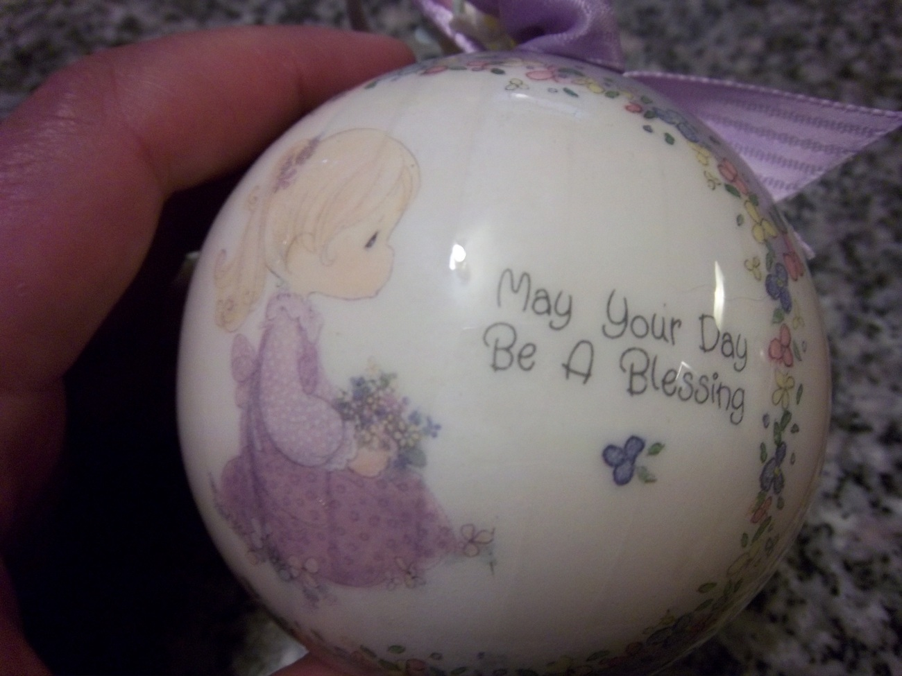 "1990 Samuel J. Butcher, Vintage Enesco Ornament,  ""May Your Day Be a Blessing"""