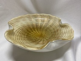 Vintage Mid Century Murano Venetian Glass Bowl Gold And White Swirl Shell Label - $175.00