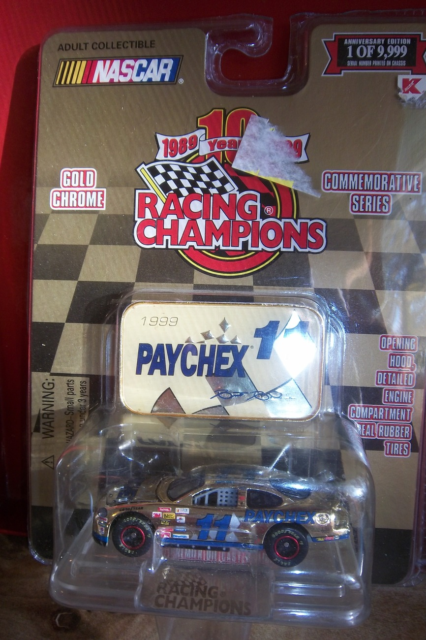 Gold Chrome Racing Champions 1999 PAYCHEX #11 NASCAR 10th Anniv. Ltd Ed. Car