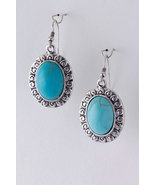 Beautiful Turquoise Oval Dangle Silver Earrings - $8.00