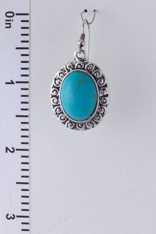 Beautiful Turquoise Oval Dangle Silver Earrings