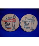 Vintage Pabst Blue Ribbon Beer Coaster Souvenir set of 2 - $3.99