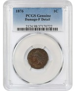 1876 1c PCGS F Detail (Damage) - Colorful Toning - Indian Cent - $67.90