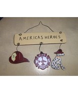 Fire Fighter Hanging America's Heroes Ornament Wood - $2.50