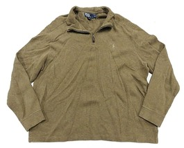 Polo by Ralph Lauren Brown Long Sleeve 1/4 Button Pullover Sweater Men's Size XL - $32.62