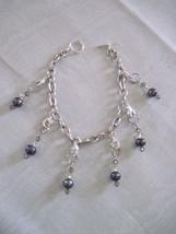 OOAK handmade dark pearl stitch marker bracelet - $25.00