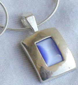 Light blue cat eye pendant