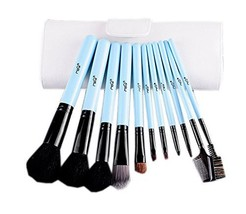 Cute Sky Blue Cosmetic Brushes Kit with White PU Bag 11 PCS image 2