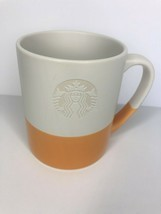 Starbucks Coffee Mug Sunset Orange Etched Mermaid Logo Hand Dipped Cup 2014 - $14.85