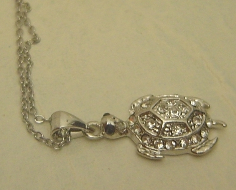 Turtle Necklace Pave Rhinestones 18KRGP Silver Chain
