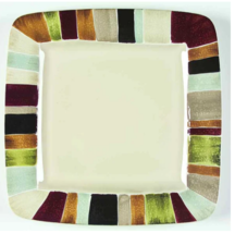 Tabletops Unlimited Jentry 11 1/8 in Square Dinner Plate Multi-Color Cer... - $13.85