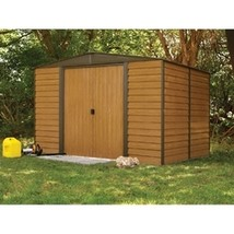 Outdoor 10 x 12-ft Steel Storage Shed With Woodgrain Panels - $1,085.00