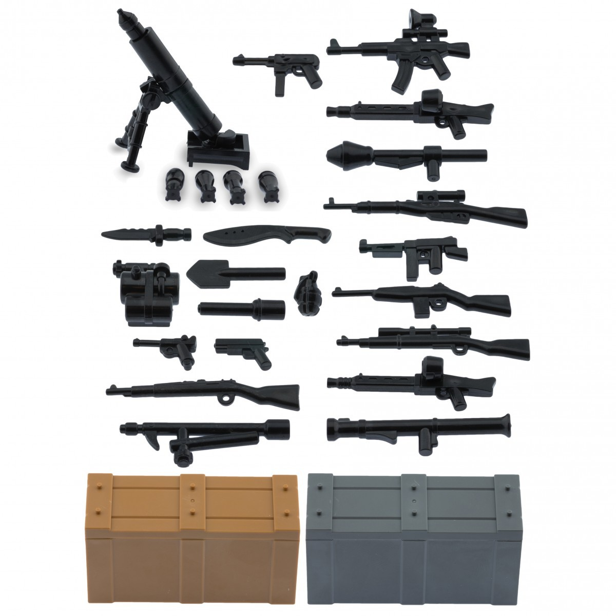 My military guns weapons pack for lego minifigures minifig accessories a weapons pack and crates