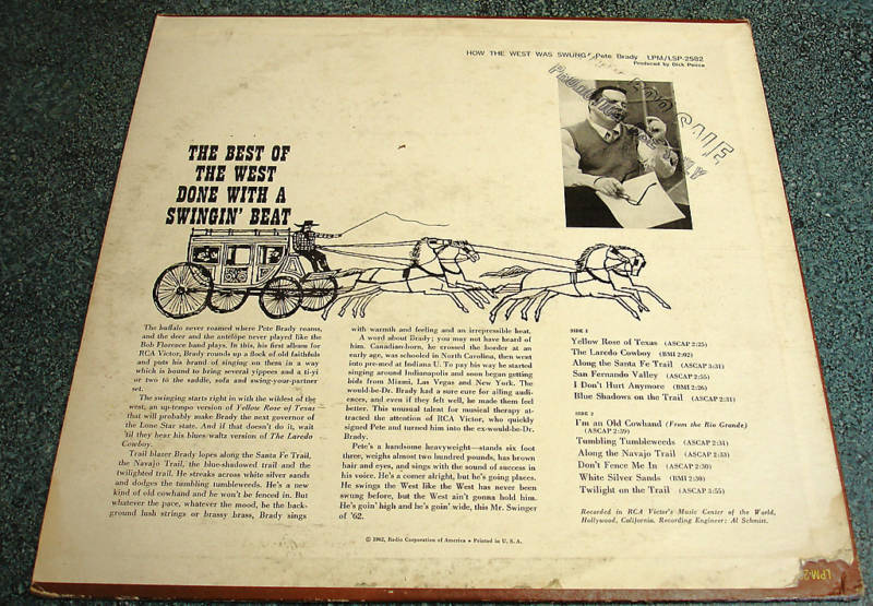 PETE BRADY 1962 Stereo RCA LP HOW THE WEST WAS SWUNG