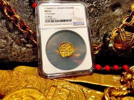 "MEXICO 1704 DATE 1 ESCUDO ""1715 PLATE FLEET SHIPWRECK"" NGC 61 PIRATE GOLD COINS image 10"