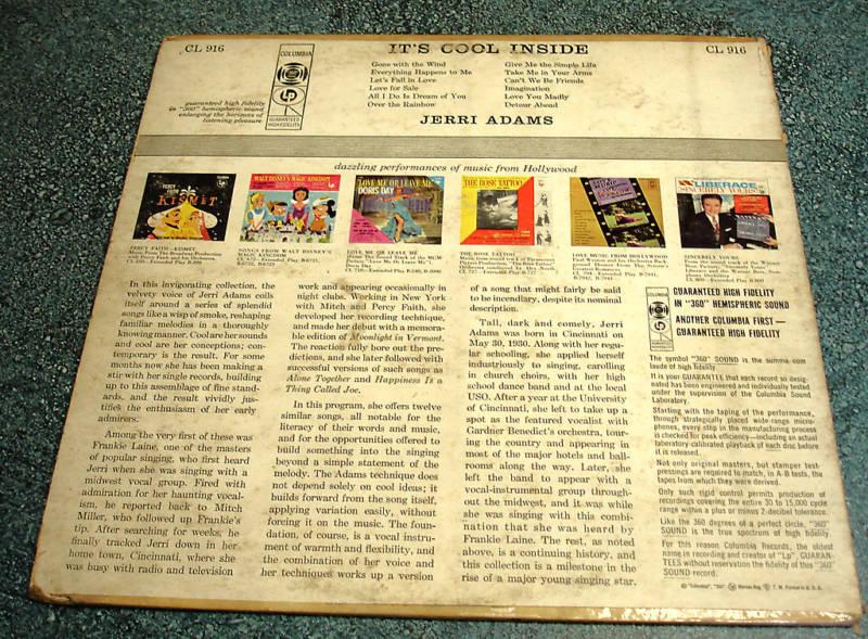JERRI ADAMS 1956 Columbia Mono LP IT'S COOL INSIDE