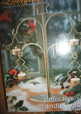 Large Centerpiece Table Christmas Tree Star Candle Holder Metalwork Glitter  NEW