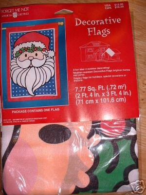 SANTA DECORATIVE FLAG AMERICAN GREETINGS 2.25'X3.25'NEW