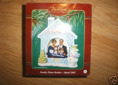 Family PHOTO HOLDER 2003 Carlton Cards Memories Cookie Pastel House Ornament NEW