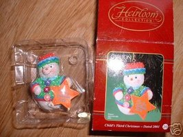 Childs My Third Christmas 2001 ORNAMENT NEW Snowman Colorful Hat Sweater... - $9.99