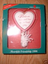 HEARTFELT FRIENDSHIP 1996 FRIEND CHRISTMAS ORNAMENT NIB - $4.99