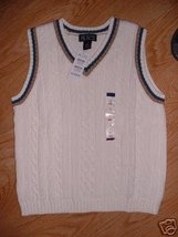 Winter White trim Cable SWEATER VEST Vneck  Boy Childrens Place Small 5/6  NEW - $9.99