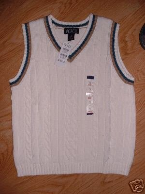 Winter White Blue Brown Trim Cable Sweater VEST Vneck Boy Childrens Place XS NEW