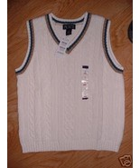 Winter White Blue Brown Trim Cable Sweater VEST... - $7.99