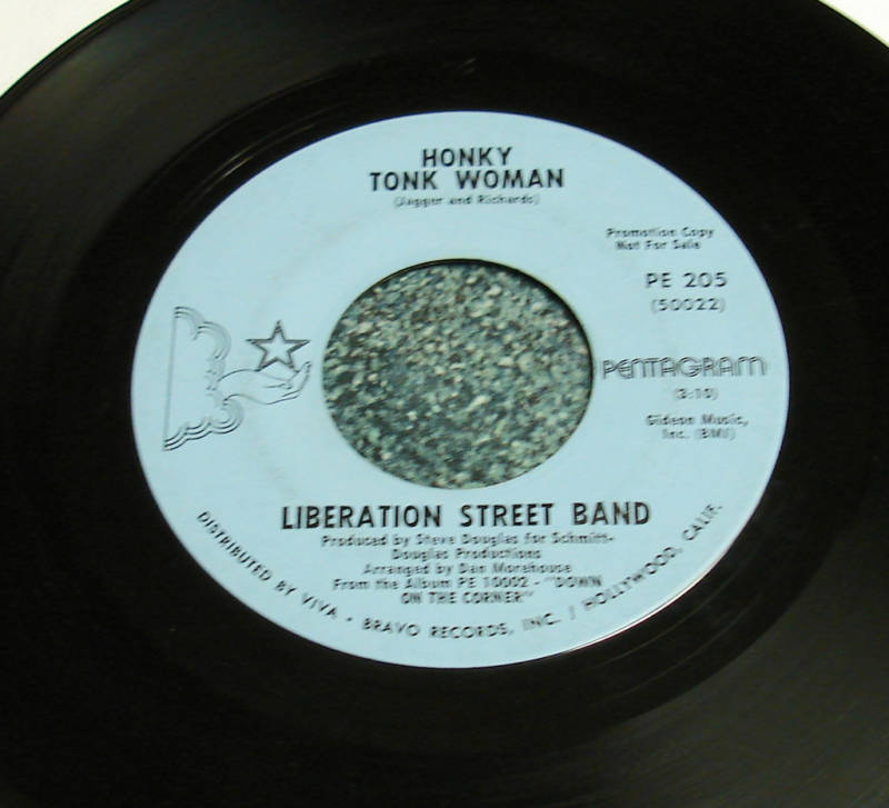 LIBERATION STREET BAND 1970 45 Honky Tonk Woman HEAR IT Down On The Corner
