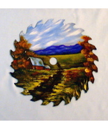 Hand Painted Saw Blade Mountain Cabin Fall Scene Custom Order Wall Decor - $35.00