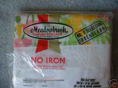 Meadowbrook Luxury Percale FULL FLAT Sheet Green Yelow Pink Flower wide Lace NEW