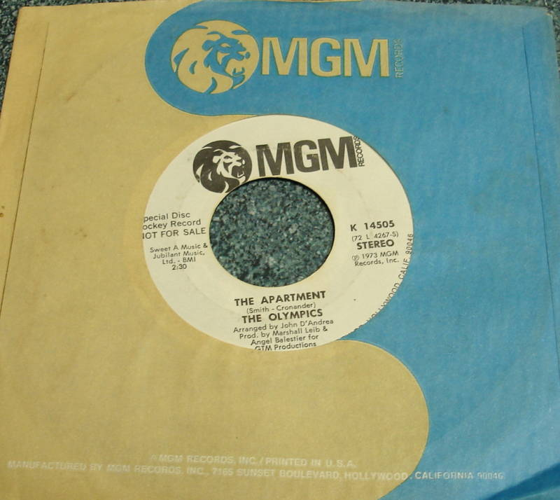OLYMPICS 1973 MGM Promo Mono/Stereo 45 THE APARTMENT