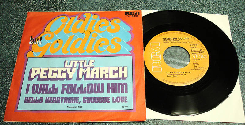 LITTLE PEGGY MARCH German PS 45 I WILL FOLLOW HIM/HELLO