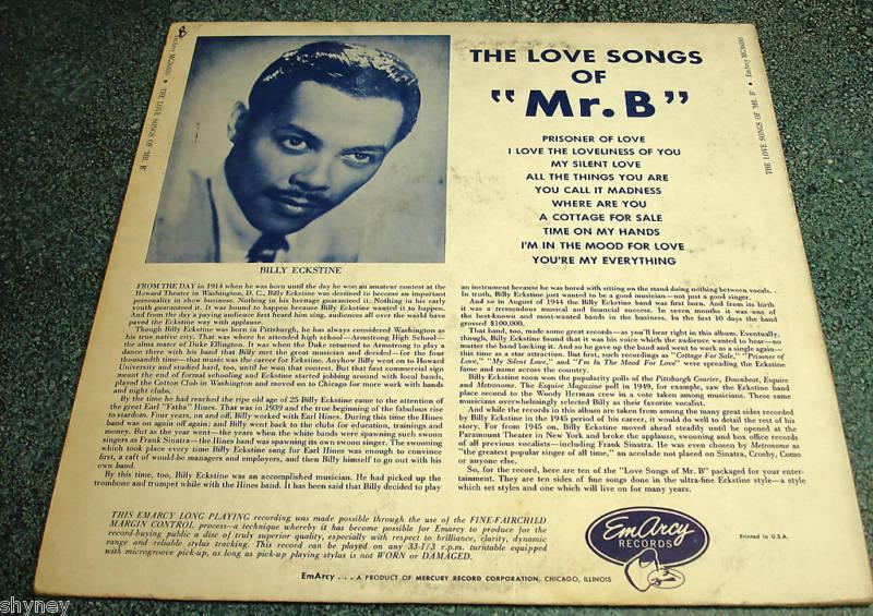 BILLY ECKSTINE 1955 EmArcy LP THE LOVE SONGS OF MR. B