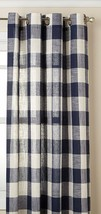 "Courtyard Plaid Woven Curtain Panel with Grommets, Navy, 84"" length, Lor... - $24.99"